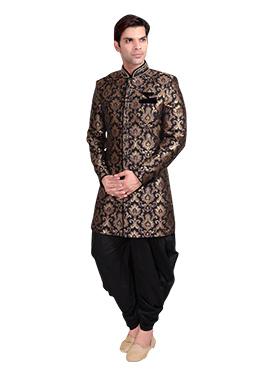 Black N Brown Patiala Style Sherwani