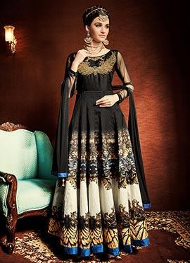 Black N Cream Art Silk Anarkali Suit