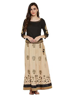 Black N Cream Cotton Skirt Set