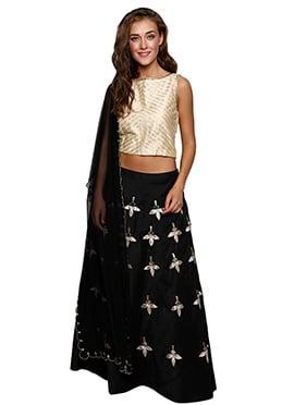 Black N Cream Cotton Silk Lehenga Choli