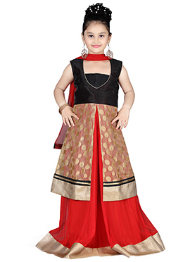 Black N Cream Kids A Line Long Choli Lehenga