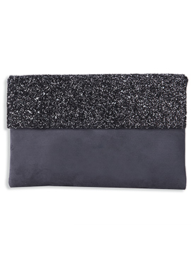 Black N Dark Grey Sequined Suede Clutch
