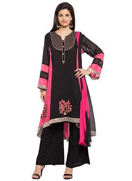 Black N Dark Pink Georgette Asymmetrical Palazzo Suit