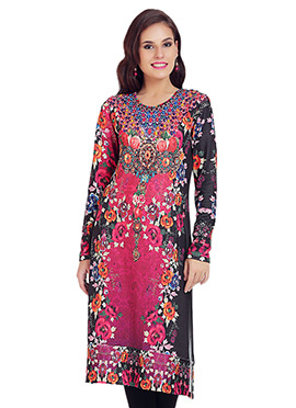 Black N Dark Pink Polyester Printed Long Kurti