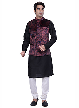 Black N Deep Mauve Benarasi Silk Cotton Bandi Set