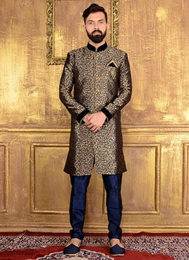 Black N Gold Art Silk Indowestern Sherwani