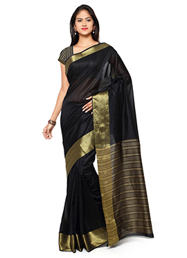 Black N Gold Blended Cotton Saree