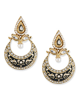 Black N Gold Colored Chand Bali Earrings