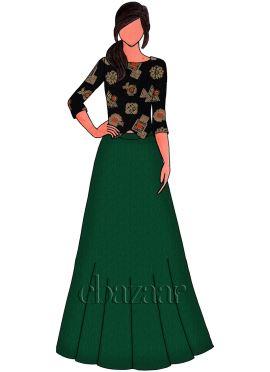 Black N Gold Embroidered Georgette Skirt Set