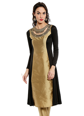 Black N Gold Embroidered Long Kurti