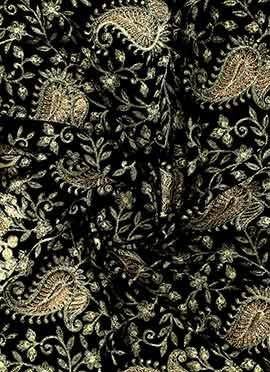 Black N Gold Embroidered Velvet Fabric