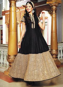 Black N Golden Colored Anarkali Suit