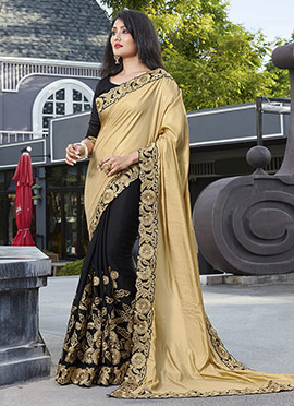 Black N Golden Half N Half Saree