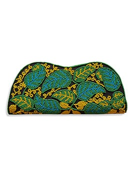 Black N Green Art Dupion Silk Clutch