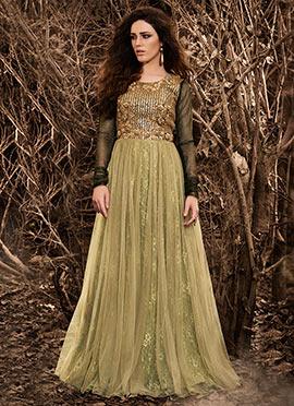 Black N Green Art Raw Silk N Net Anarkali Suit