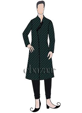 Black N Green Art Silk Kurta Pyjama Set