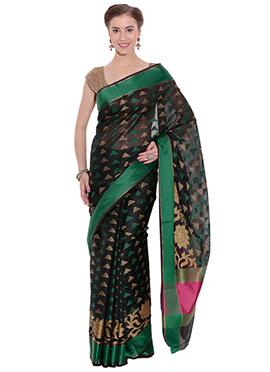 Black N Green Art Silk Saree