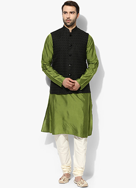 Black N Green Benarasi Cotton Silk Bandi Set