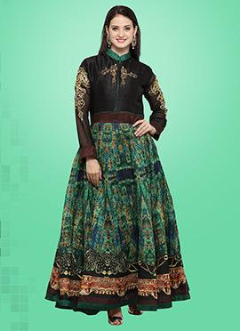 Black N Green Bhagalpuri Art Silk Gown