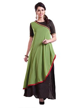 Black N Green Chanderi Pure Silk Anarkali Suit