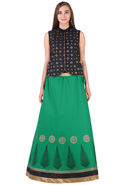 Black N Green Cotton 9rasa A Line Lehenga Choli