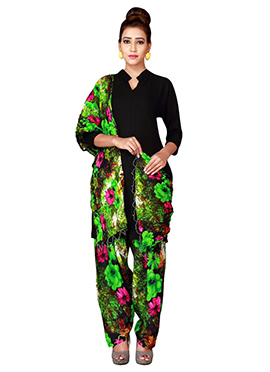 Black N Green Cotton Semi Patiala Pant