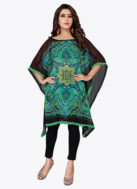 Black N Green Georgette Kaftan