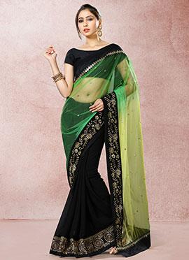 Black N Green Half N Half Saree
