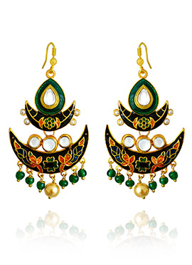 Black N Green Meenakari Dangler Earring