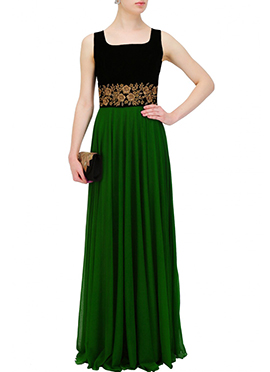 Black N Green Velvet N Georgette Gown