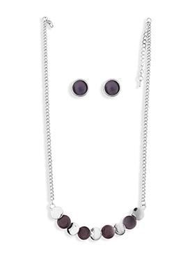 Black N Grey Circular Necklace Set