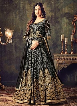 Black N Grey Georgette Abaya Style Anarkai Suit