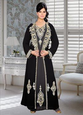 Black N Grey Georgette Fustan Dress