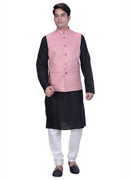 Black N Light Pink Benarasi Silk Cotton Bandi Set