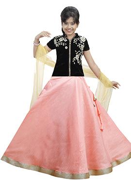 Black N Light Pink Velvet Kids A Line Lehenga