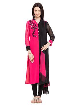 Black N Magenta Georgette Churidar Suit