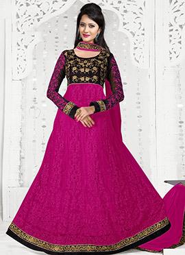 Black N Magenta Net Floor Length Anarkali Suit
