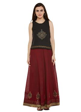 Black N Maroon Cotton Skirt Set