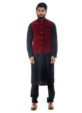 Black N Maroon Cotton Silk Bandi Set