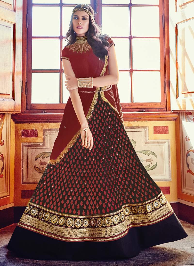 95e3784863 Buy Black N Maroon Floor Length Anarkali Suit, Stones , Embroidered ...