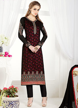 Black N Maroon Georgette Straight Pant Suit