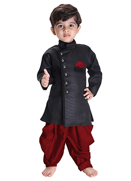 Black N Maroon Silk Cotton Kids Kurta Pyjama
