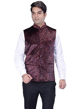 Black N Maroon Velvet Nehru Jacket