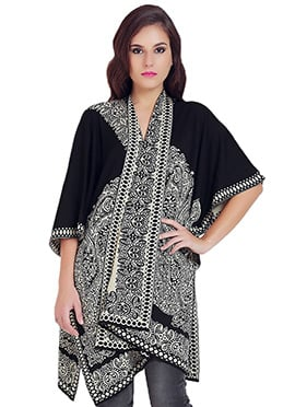 Black N Off White Abstract Patterned Cardigan