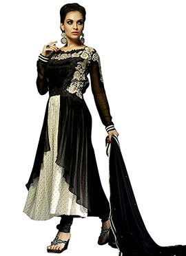 Black N Off White Anarkali Suit