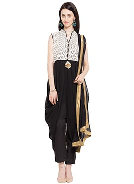 Black N Off White Asymmetrical Straight Pant Suit
