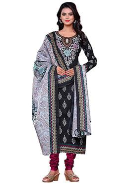 Black N Off White Cotton Printed Churidar Suit