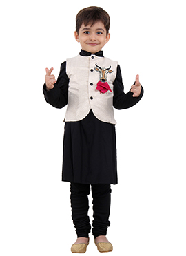 Black N Off White Cotton Silk Kids Bandi Set