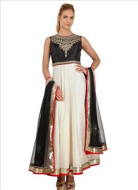Black N Off White Silk Ankle Length Anarkali