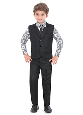 Black N Off White Silk Blend Kids Suit
